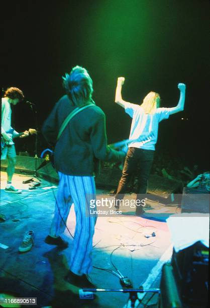 Kurt Cobain joins his friends Mudhoney on stage vocalist Mark Arm and guitarist Steve Turner on September 26 1992 at Castaic Lake Natural...