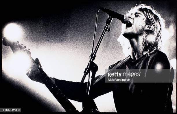 Kurt Cobain, Nirvana, performing on stage, Paradiso, Amsterdam, Netherlands, 25th November 1991.