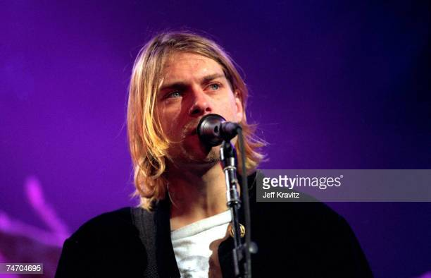 Kurt Cobain of Nirvana at the MTV Live and Loud-Nirvana Performs in December 1993 at Pier 28 in Seattle, Washington.