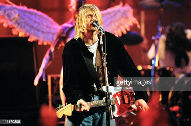 Kurt Cobain of Nirvana during MTV Live and Loud Nirvana Performs Live December 1993 at Pier 28 in Seattle Washington United States
