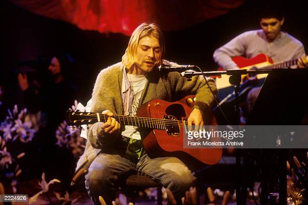 Kurt Cobain of Nirvana during the taping of MTV Unplugged at Sony Studios in New York City, 11/18/93. Photo by Frank Micelotta.