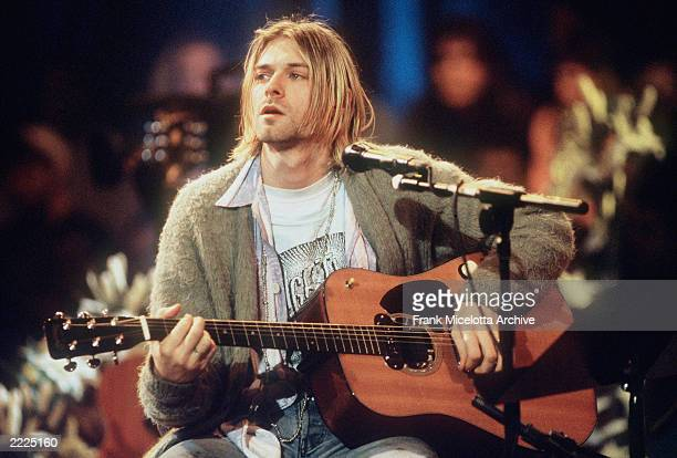Kurt Cobain of Nirvana during the taping of MTV Unplugged at Sony Studios in New York City 11/18/93 Photo by Frank Micelotta