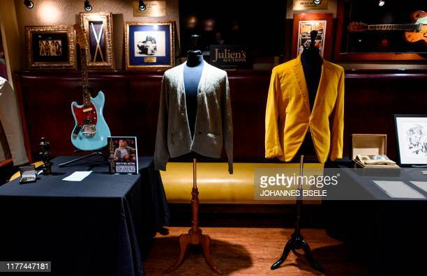 Kurt Cobain's cardigans from Nirvana's 1993 MTV Unplugged performance is on display at the Hard Rock Cafe in New York City ahead of the auction of...