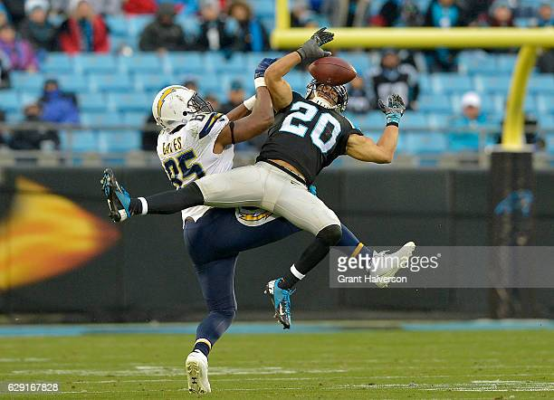Kurt Coleman of the Carolina Panthers breaks up a pass to Antonio Gates of the San Diego Chargers in the fourth quarter during the game at Bank of...