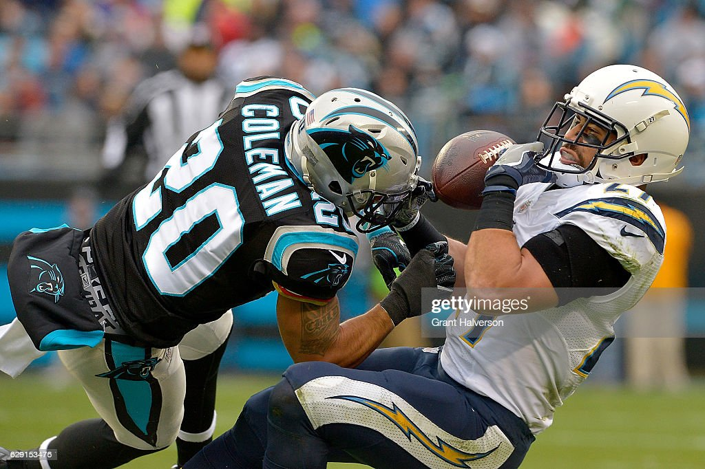 Kurt Coleman #20 of the Carolina Panthers defends a pass to Kenneth Farrow #27 of the San Diego Chargers in the 2nd quarter during the game at Bank of America Stadium on December 11, 2016 in Charlotte, North Carolina.