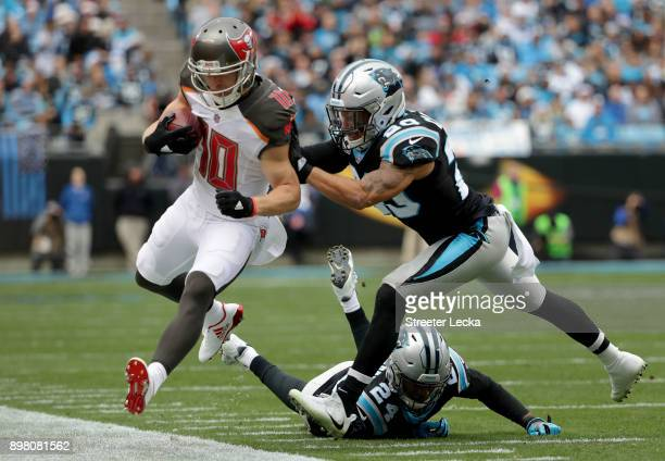 Kurt Coleman of the Carolina Panthers pushes Adam Humphries of the Tampa Bay Buccaneers out of bounds in the first quarter during their game at Bank...