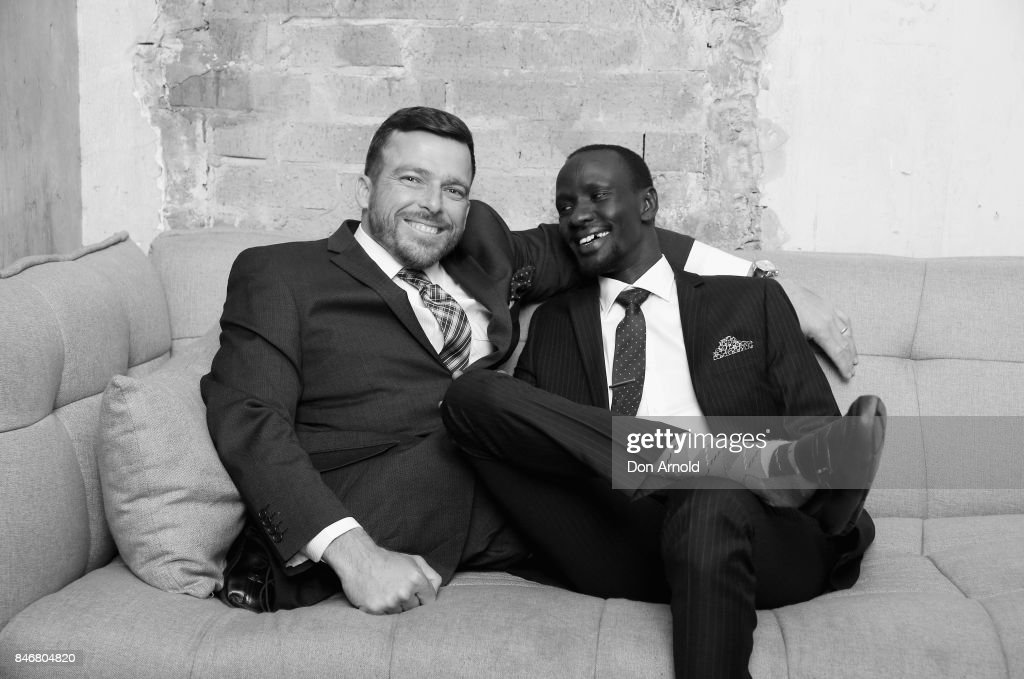 Kurt Fearnley and Deng Adut attend the Van Heusen Mentors event at Beta Bar on September 14, 2017 in Sydney, Australia.