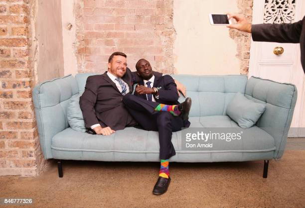 Kurt Fearnley and Deng Adut pose for a photo during the Van Heusen Mentors event at Beta Bar on September 14 2017 in Sydney Australia