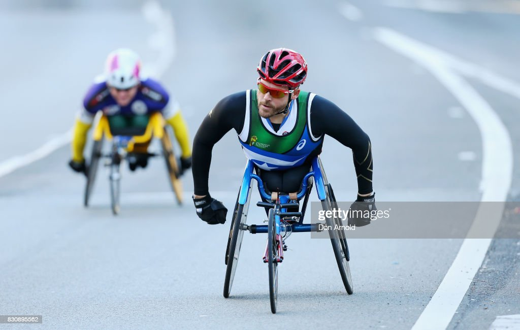 Kurt Fearnley heads up William Street during the start of the 2017 City to Surf on August 13, 2017 in Sydney, Australia.
