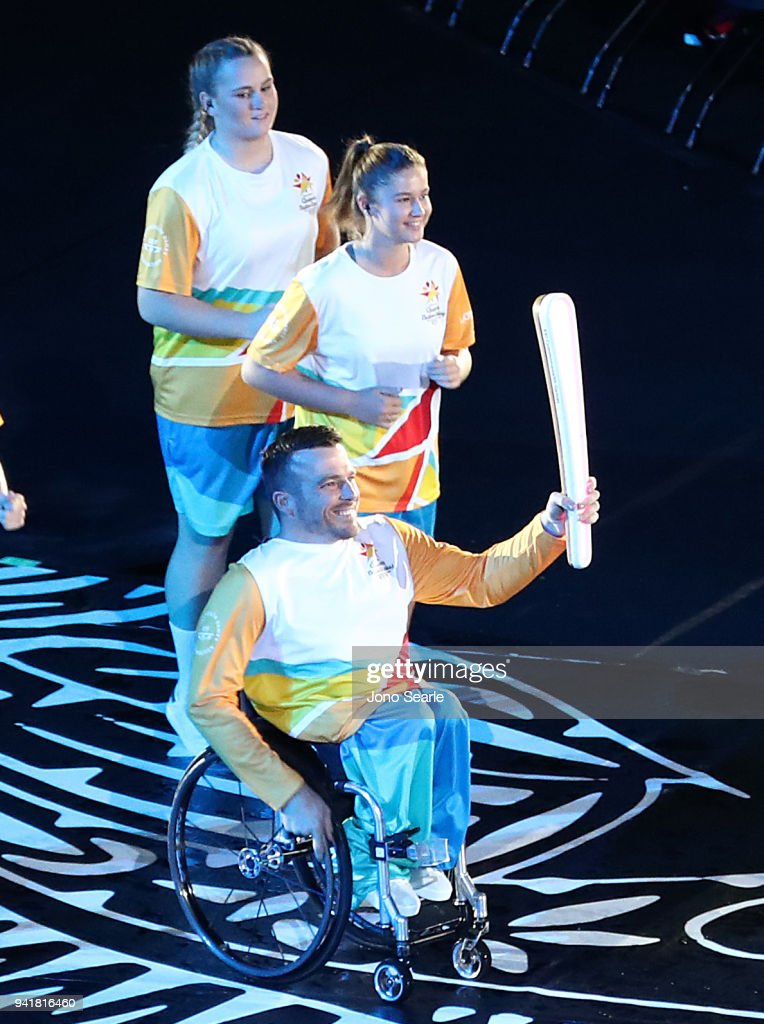 Kurt Fearnley holds the Queens Baton during the Opening Ceremony for the Gold Coast 2018 Commonwealth Games at Carrara Stadium on April 4, 2018 on the Gold Coast, Australia.