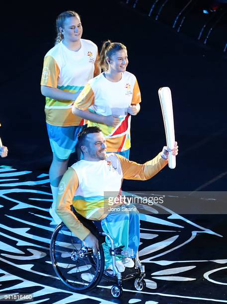 Kurt Fearnley holds the Queens Baton during the Opening Ceremony for the Gold Coast 2018 Commonwealth Games at Carrara Stadium on April 4 2018 on the...