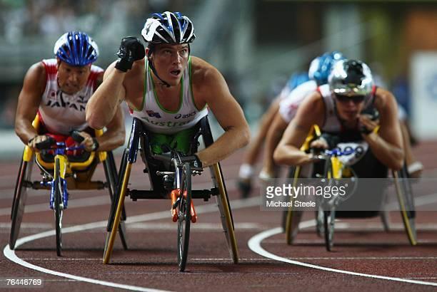 Kurt Fearnley of Australia celebrates winning the Men's 1500m Wheelchair race on day eight of the 11th IAAF World Athletics Championships on...