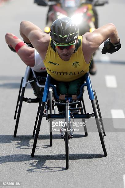 Kurt Fearnley of Australia competes in the Men's Marathon T54 at Fort Copacabana on day 11 of the Rio 2016 Paralympic Games at on September 18 2016...