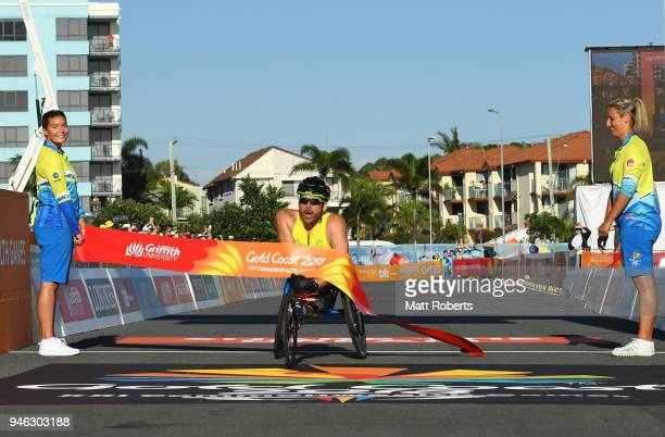 Kurt Fearnley of Australia crosses the line to win gold in the Men's T54 marathon on day 11 of the Gold Coast 2018 Commonwealth Games at Southport...