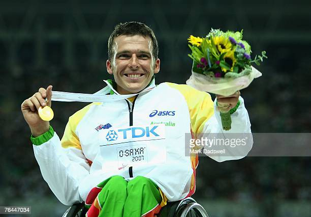 Kurt Fearnley of Australia receives his gold medal for winning the Men's 1500m Wheelchair race on day eight of the 11th IAAF World Athletics...