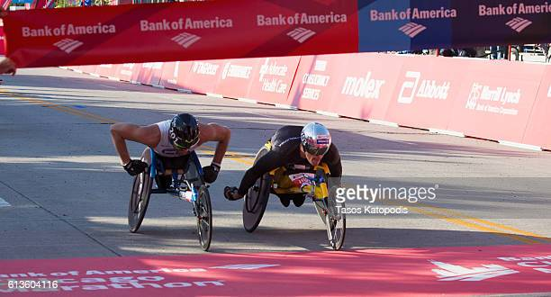 Kurt Fearnley of Australia second place winner and Marcel Hug of Switzerland first place winner in the mens wheelchair race at the Bank of America...