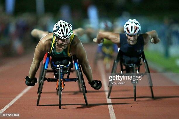 Kurt Fearnley of Australia wins the Mens Elite wheelchair mile during the 2015 Hunter Track Classic on January 31 2015 in Newcastle Australia
