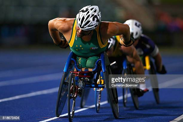 Kurt Fearnley of New South Wales leads competitors in the mens 1500m wheelchair during the Australian Athletics Championships at Sydney Olympic Park...