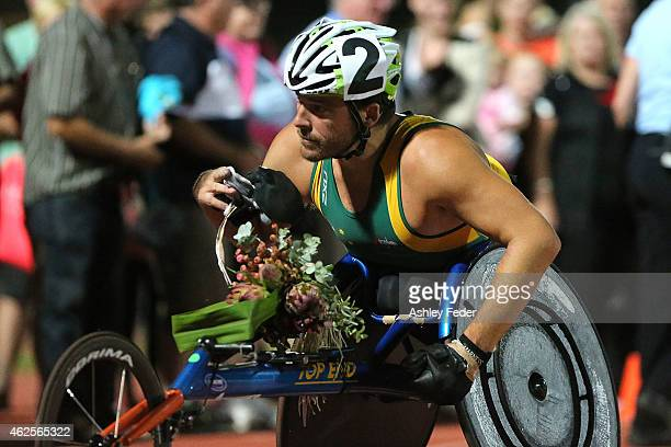 Kurt Fearnley of NSW after winning the Mens Elite Wheelchair Mile during the 2015 Hunter Track Classic on January 31 2015 in Newcastle Australia