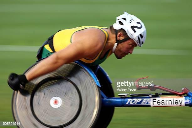 Kurt Fearnley of NSWIS competes in the mens 1500m wheelchair race during the IPC Athletics Grand Prix on February 6, 2016 in Canberra, Australia.