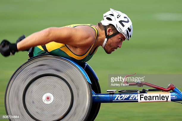 Kurt Fearnley of NSWIS competes in the mens 1500m wheelchair race during the IPC Athletics Grand Prix on February 6 2016 in Canberra Australia