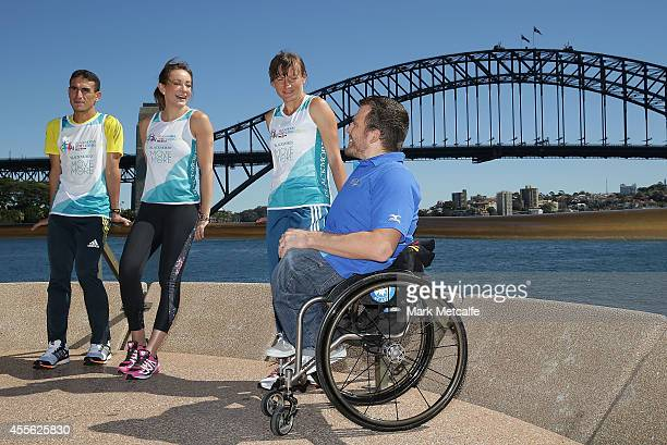 Kurt Fearnley talks to Michelle Bridges at a media launch ahead of the Blackmores Sydney Running Festival at Sydney Opera House on September 18 2014...