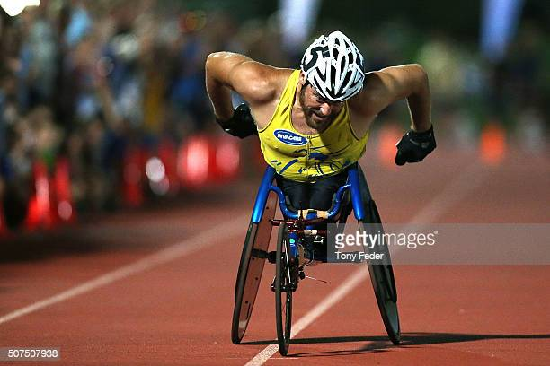 Kurt Fearnley wins the Mens 1500m wheelchair during the 2016 Hunter Track Classic on January 30 2016 in Newcastle Australia