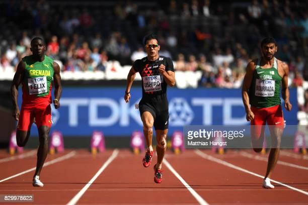 Kurt Felix of Grenada, Keisuke Ushiro of Japan and Larbi Bourrada of Algeria compete in the Men's Decathlon 100 metres during day eight of the 16th...