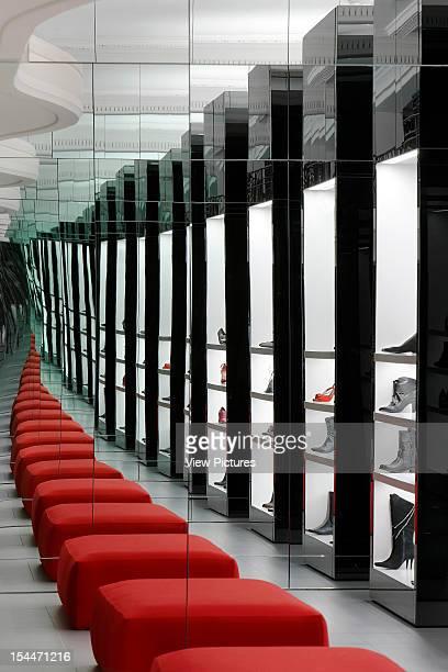 Kurt Geiger London United Kingdom Architect Found Associates Kurt Geiger Detail Of Red Seating To Mirrors