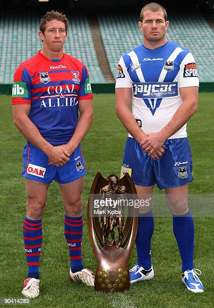 Kurt Gidley of the Knights and Andrew Ryan of the Bulldogs pose during the NRL premiership finals captains call at the Sydney Football Stadium on...