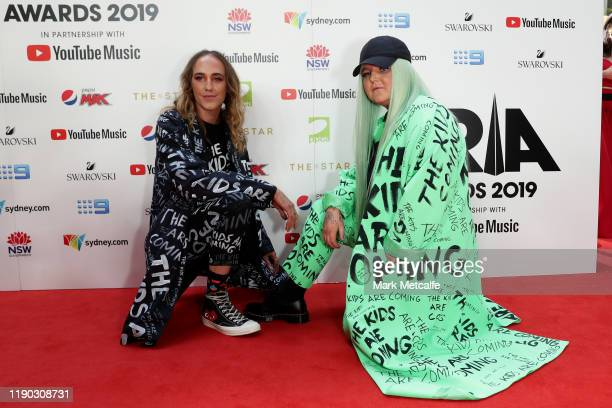 Kurt Harbord and Toni Watson aka Tones and I arrive for the 33rd Annual ARIA Awards 2019 at The Star on November 27 2019 in Sydney Australia