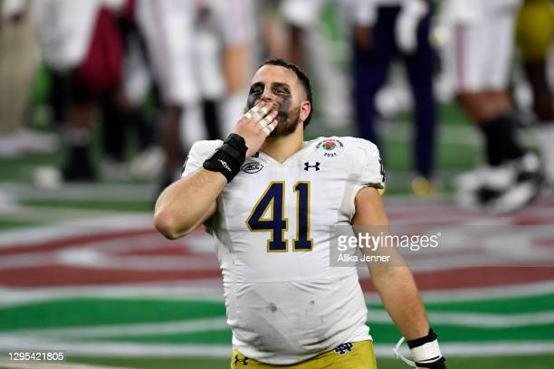 Kurt Hinish of the Notre Dame Fighting Irish blows kisses to the fans after the College Football Playoff Semifinal at the Rose Bowl football game...