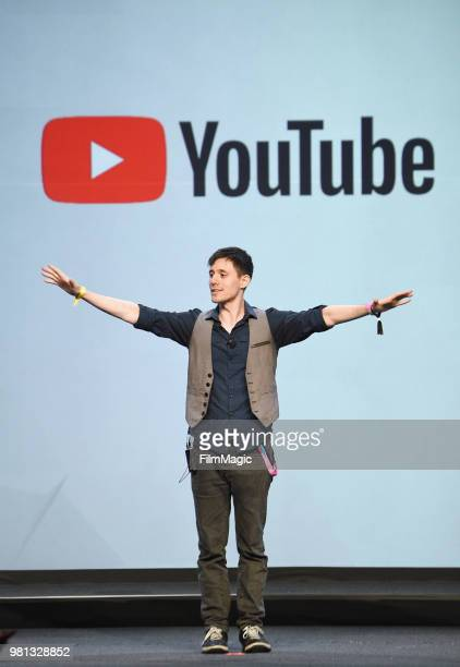 Kurt Hugo Schneider speaks onstage during the YouTube Keynote Building Communities and the Next Generation of Media Companies Panel during VidCon at...