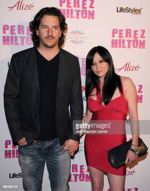 Kurt Iswarienko and Shannen Doherty attend Perez Hilton's CarnEvil Theatrical Freak and Funk 32nd birthday party at Paramount Studios on March 27...