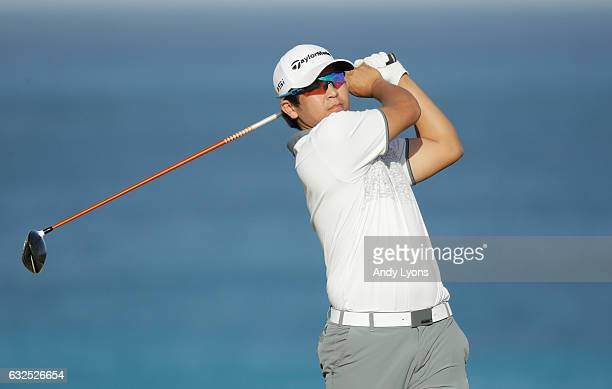 Kurt Kitayama hits his tee shot on the 18th hole during the second round of The Bahamas Great Abaco Classic at the Abaco Club on January 23 2017 in...