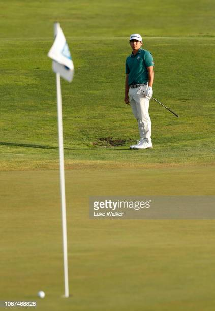 Kurt Kitayama of the USA chips onto the 18th green during Day Five of the European Tour Qualifying School Final Stage at Lumine Golf Club on November...