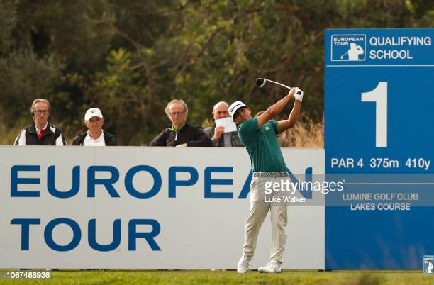 Kurt Kitayama of the USA plays a shot during Day Five of the European Tour Qualifying School Final Stage at Lumine Golf Club on November 14 2018 in...