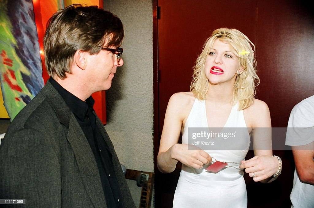 Kurt Loder and Courtney Love during 1993 MTV Video Music Awards in Los Angeles, California, United States.