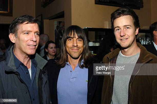 Kurt Loder Anthony Kiedis and Edward Norton during Anthony Kiedis 'Scar Tissue' Book Release Party at Cutting Room in New York New York United States