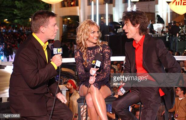 Kurt Loder Britney Spears and Mick Jagger during 2001 MTV Video Music Awards Arrivals at The Metropolitan Opera House at Lincoln Center in New York...