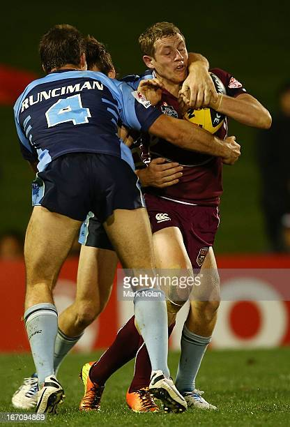 Kurt Mann of Queensland runs the ball during the U20s State of Origin match between New South Wales and Queensland at Centrebet Stadium on April 20,...
