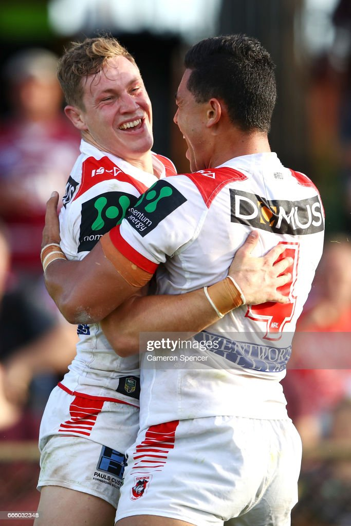 Kurt Mann of the Dragons celebrates scoring a try with team mate Timoteo Lafai during the round six NRL match between the Manly Sea Eagles and the St George Illawarra Dragons at Lottoland on April 8, 2017 in Sydney, Australia.