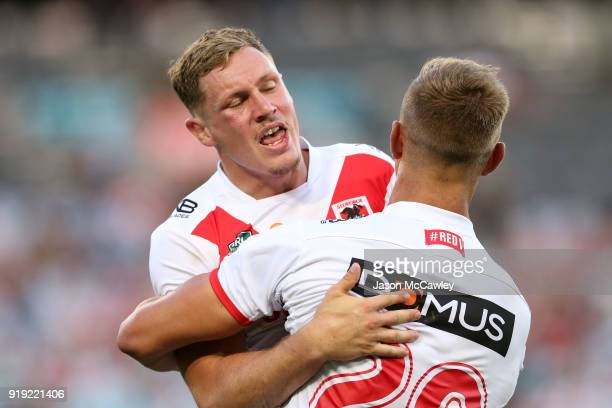 Kurt Mann of the Dragons scores a try during the NRL trial match between the St George Illawarra Dragons and Hull at ANZ Stadium on February 17 2018...