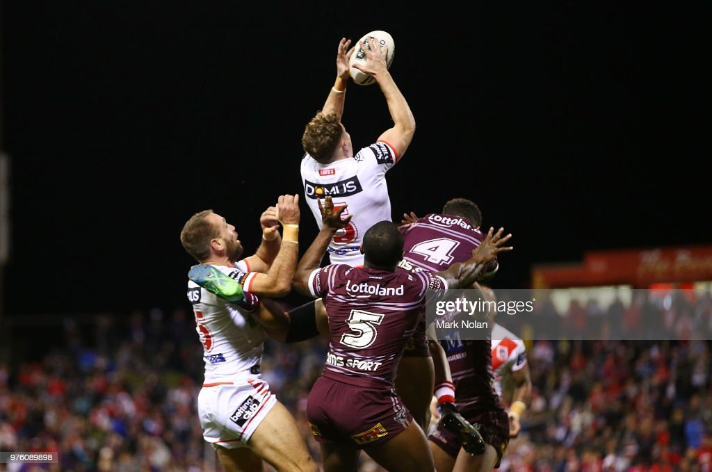 Kurt Mann of the Dragons takes a high ball during the round 15 NRL match between the St George Illawarra Dragons and the Manly Sea Eagles at WIN Stadium on June 16, 2018 in Wollongong, Australia.