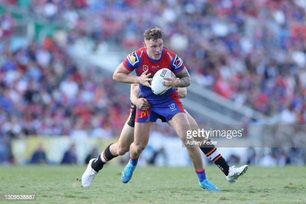 Kurt Mann of the Knights in action during the round three NRL match between the Newcastle Knights and the Wests Tigers at McDonald Jones Stadium on...