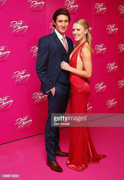 Kurt Phelan and Kirby Burgess arrive for the 10th anniversary tour of Dirty Dancing at Sydney Lyric Theatre on December 3 2014 in Sydney Australia