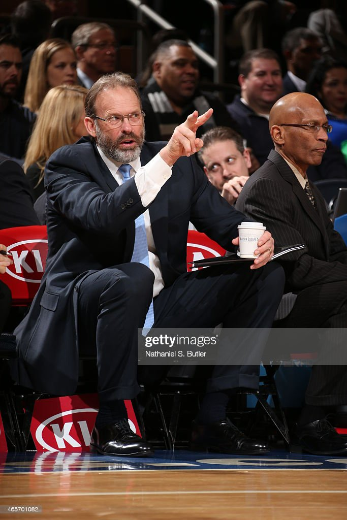 Kurt Rambis assistant coach of the New York Knicks sits on the sideline during a game against the Indiana Pacers on March 7, 2015 at Madison Square Garden in New York City.