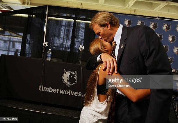 Kurt Rambis new head coach of the Minnesota Timberwolves is greeted by his daughter Ali following his introduction to the media on August 11 2009 at...