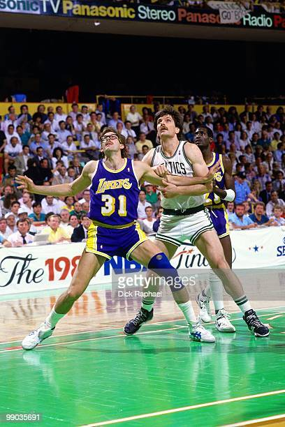Kurt Rambis of the Los Angeles Lakers boxes out against the Boston Celtics during the 1987 NBA Finals at the Boston Garden in Boston Massachusetts...