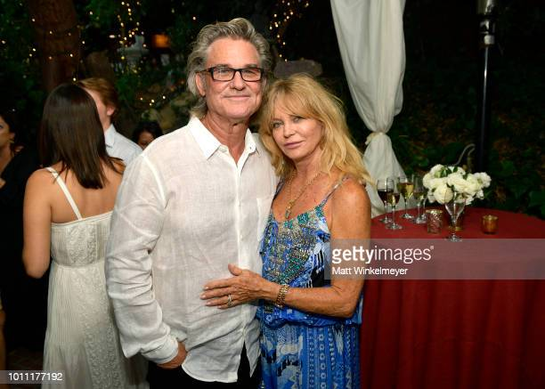 Kurt Russell and Goldie Hawn attend the Wild Wild Country Filmmaker Toast at Inn of the Seventh Ray on August 4 2018 in Topanga California